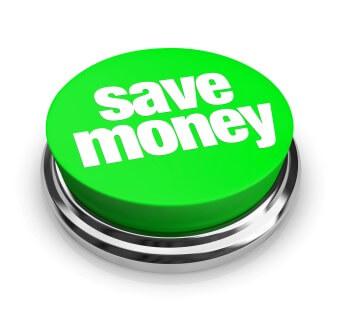 כפתור ירוק שכתוב עליו לחסוך בכסף